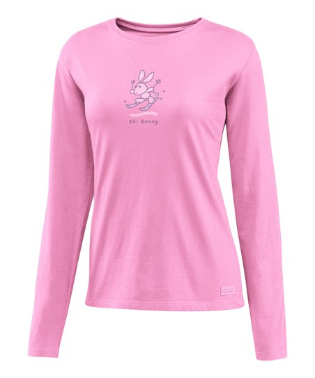 Peony Pink 'Ski Bunny' Crusher Long-Sleeve Tee - Women