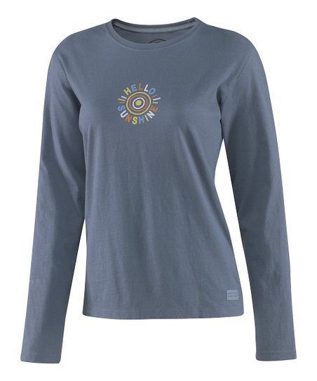True Blue 'Hello Sunshine' Crusher Long-Sleeve Tee - Women