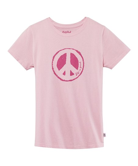 Pink Impression Peace Short-Sleeve Creamy Tee - Girls