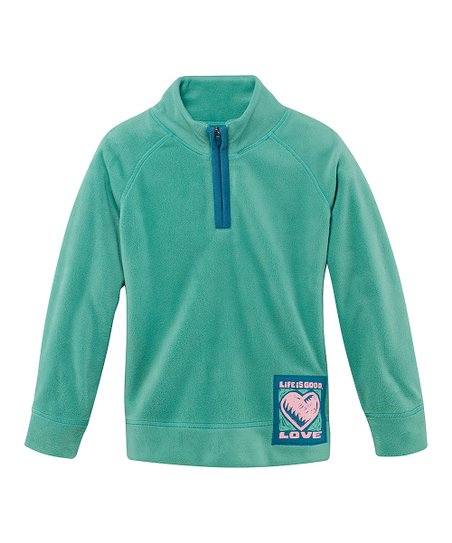 Teal Heart Microfleece Pullover - Girls