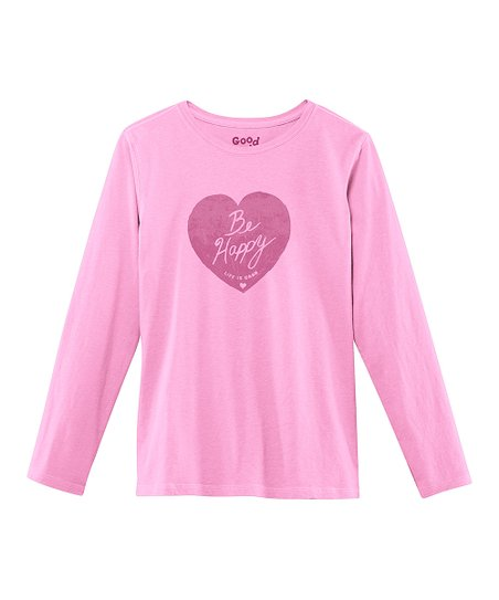 Pink 'Be Happy' Long-Sleeve Creamy Tee - Girls