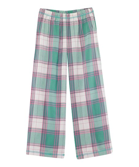 Teal Plaid Pajama Pants - Girls