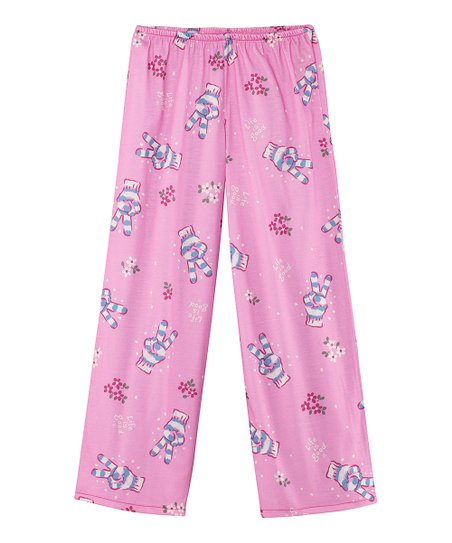Peony Pink Peace Glove Pajama Pants - Toddler & Girls