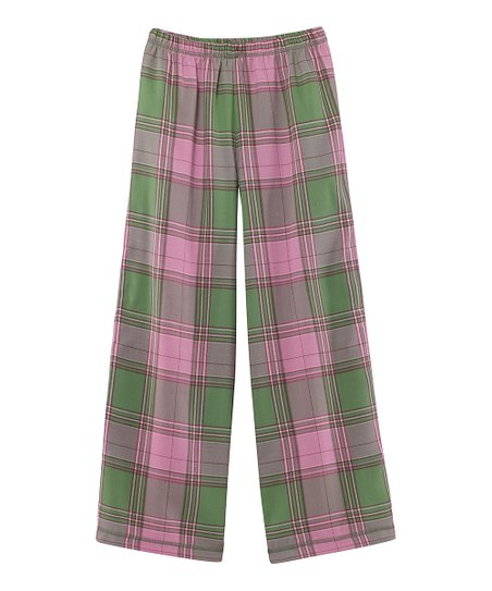 Green Plaid Flannel Pajama Pants - Girls