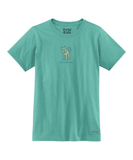 Teal &#039;Friend Me&#039; Short-Sleeve Crusher Tee - Girls