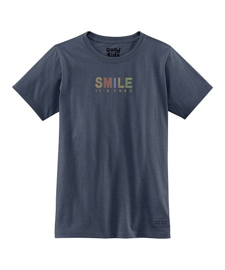 True Blue 'Smile It's Free' Short-Sleeve Crusher Tee - Girls