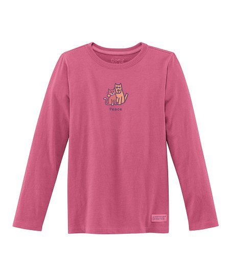 Dusty Pink 'Peace' Long-Sleeve Crusher Tee - Girls