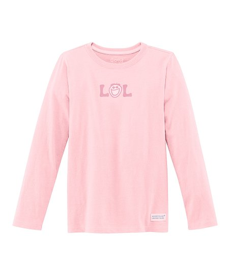 Pink 'LOL' Long-Sleeve Crusher Tee - Girls