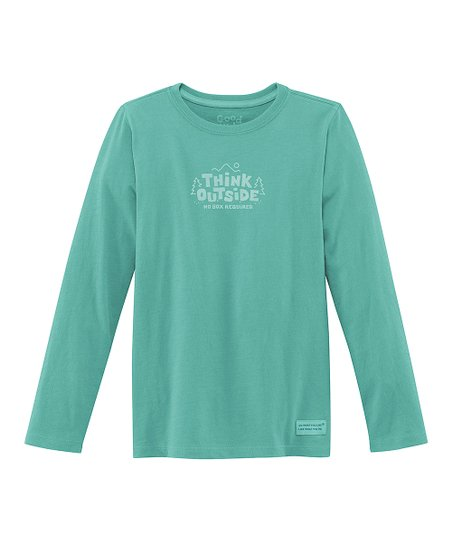 Teal 'No Box Required' Long-Sleeve Crusher Tee - Girls