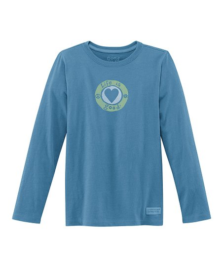 Blue Heart Long-Sleeve Crusher Tee - Girls