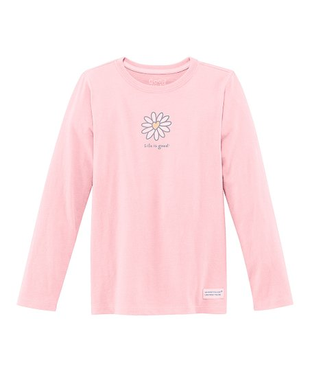 Pink Daisy Heart Long-Sleeve Crusher Tee - Girls