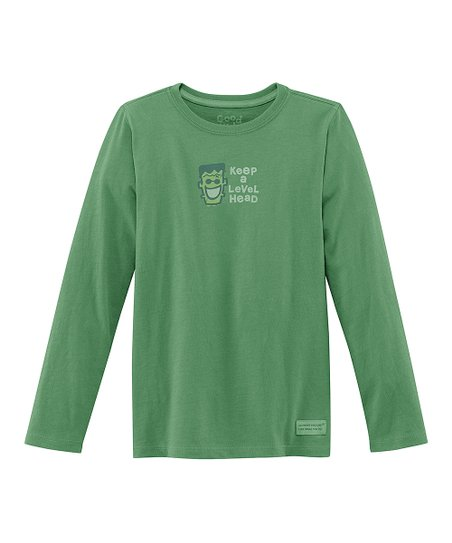 Spruce Green 'Level Head' Long-Sleeve Crusher Tee - Girls