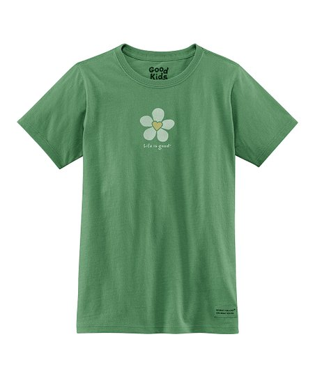 Green Heart Flower Short-Sleeve Crusher Tee - Girls
