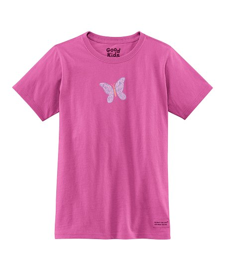 Magenta Butterfly Short-Sleeve Crusher Tee - Girls