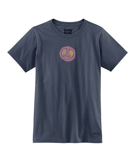 True Blue Peace Short-Sleeve Crusher Tee - Girls