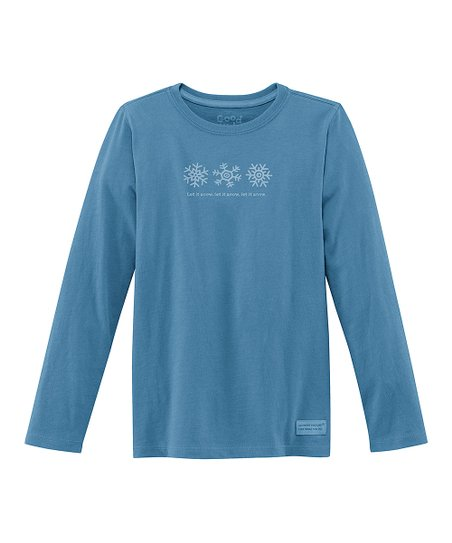 Blue &#039;Snowflakes&#039; Long-Sleeve Crusher Tee - Girls