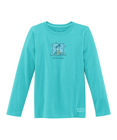 Teal 'Snow Day' Long-Sleeve Crusher Tee - Girls