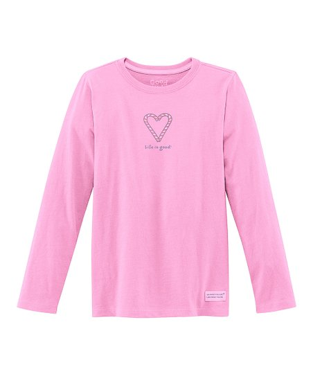 Peony Pink Candy Cane Heart Long-Sleeve Crusher Tee - Girls