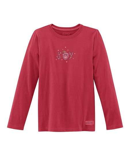 Red 'Joy' Long-Sleeve Crusher Tee - Girls