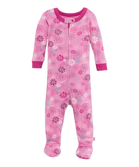 Pink Jamboree Flower Zip-Up Footie - Infant