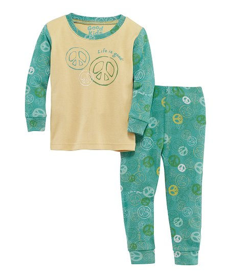 Teal Jamboree Peace Long-Sleeve Tee & Pants - Infant