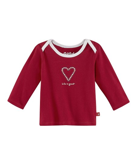 Red Candy Cane Heart Lap Neck Tee - Infant