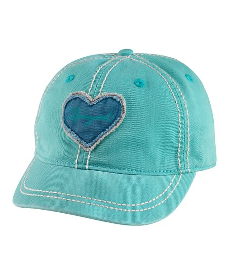 Teal Tattered Heart Shortie Baseball Cap - Women