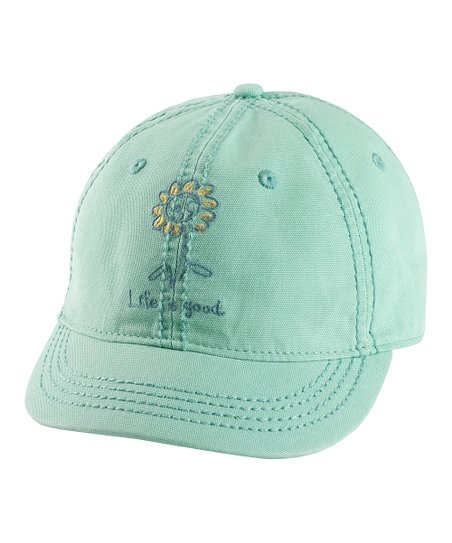 Soft Teal Sunflower Earth Shortie Organic Baseball Cap - Women