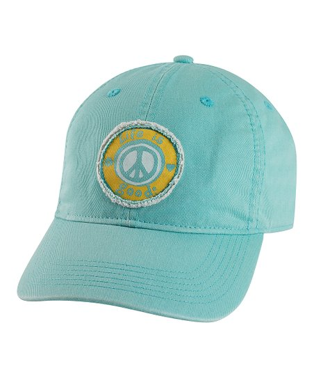 Teal Tattered Peace Chill Baseball Cap