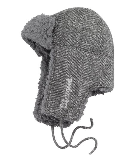 Dark Gray Herringbone Head Trapper Hat - Men