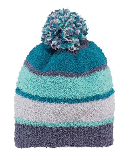 Simply Blue Stripe Snuggle Pom-Pom Beanie - Women