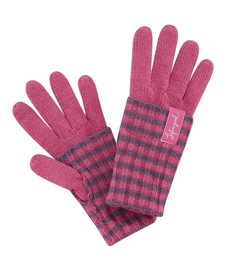 Dusty Pink Stripe Gloves - Women