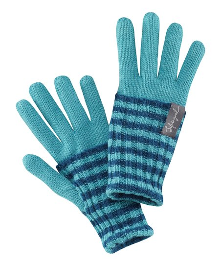 Teal Stripe Gloves - Women