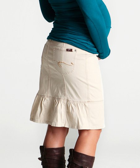 Khaki Twill Maternity Skirt