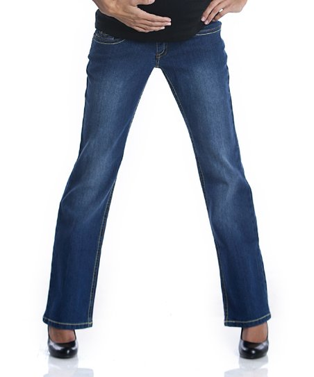 Blue Loop Flap Maternity Jeans