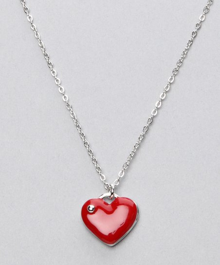 Silver & Red Heart Necklace