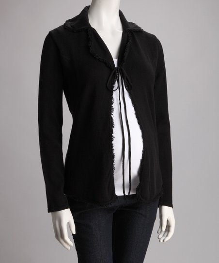 Black Fringe Maternity Cardigan
