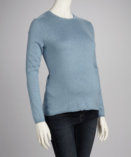 Heather Blue Maternity Crewneck Sweater