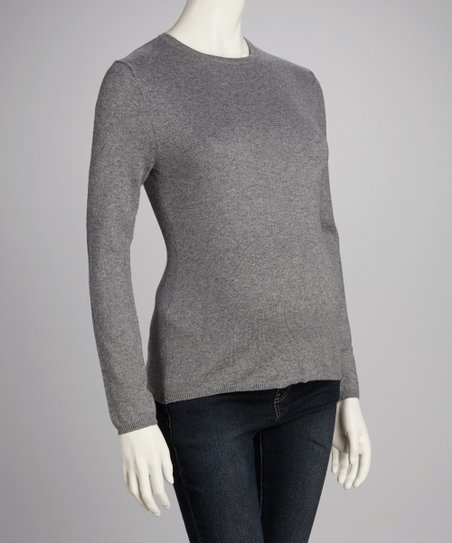 Heather Gray Maternity Crewneck Sweater