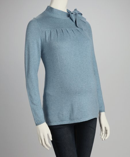Heather Blue Maternity Bow Sweater - Women