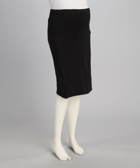 Black Knit Over-Belly Maternity Skirt - Women