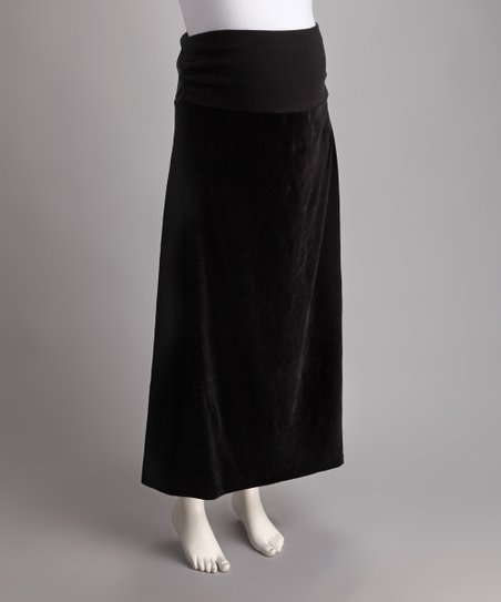 Black Over-Belly Velour Maternity Maxi Skirt
