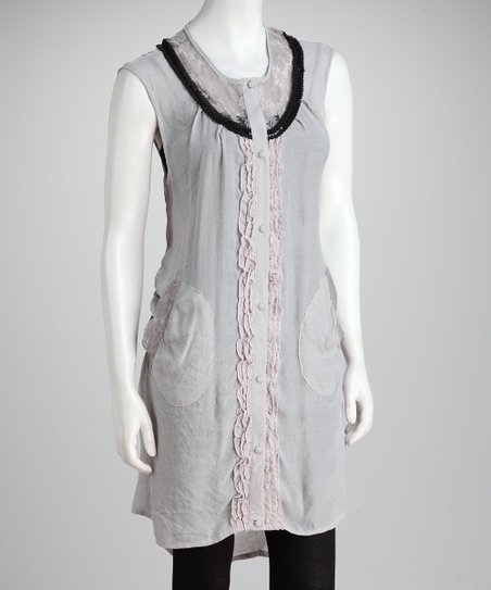 Gray Ruffle Lace Dress
