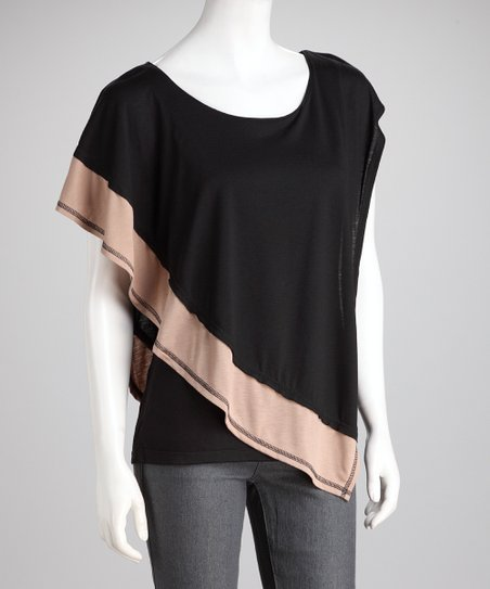 Black & Taupe Color Block Asymmetrical Top