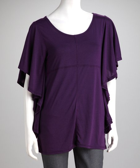 Purple Angel-Sleeve Top