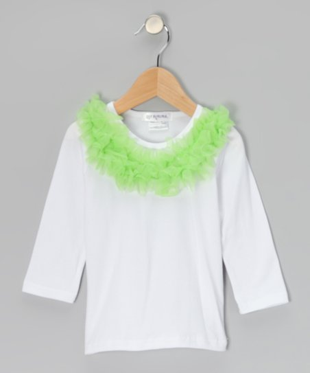 White & Lime Ruffle Collar Tee - Toddler & Girls