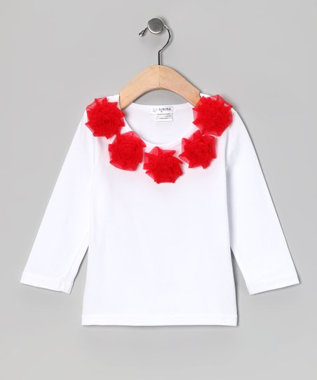 White & Red Ruffle Rosette Tee - Toddler & Girls
