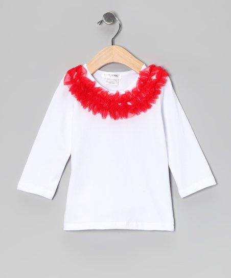 White & Red Ruffle Collar Tee - Infant, Toddler & Girls