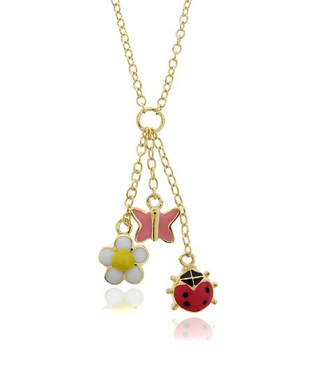 Pink &amp; Red Charm Cluster Necklace
