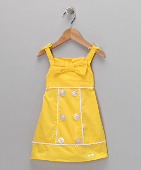 Yellow Button & Bow Dress - Infant & Toddler